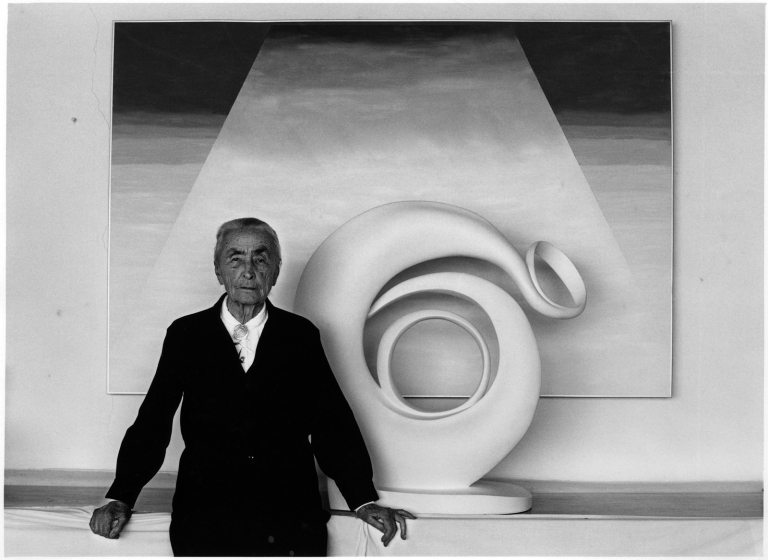 Myron Wood – Portrait of Georgia O'Keeffe with sculpture and painting, 1980. @Pikes Peak Library District, 002-9152